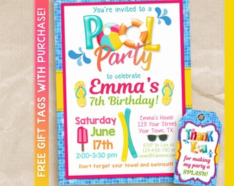 Girls Pool Party Birthday Invitation / Printable Pool Party Invitation / Pink Pool Party Invite / Pool Party Birthday Invitation