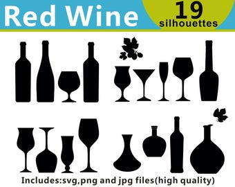 Red Wine Clipart, Red Wine Silhouettes, Drinks Clipart,  Red Wine SVG, Alcohol Clipart, Wine Bottle, Wine Glass, SVG Files, Instant Download