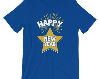 Happy New Year Star & Fireworks Display Shirt | Joyful And Blessed Silvester Party Holiday 2018 T-Shirt | Year Of The Dog Pun Short-Sleeve