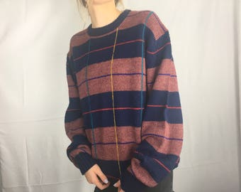 Vintage 80s Red Navy and Rainbow Plaid Sweater