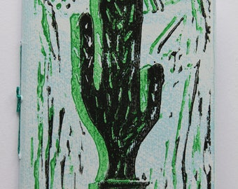 "Notebook small ""Cactus"", printed and bound by hand"