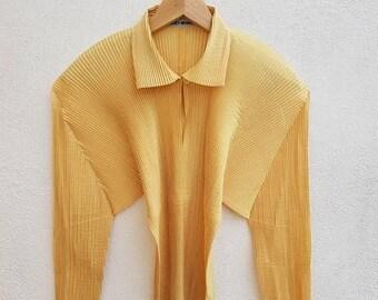 ON SALE 4 Vintage 90s PLEATS Please Issey Miyake I M 2 3 - F J 408 Women's Avant Garde Style Shirt Long Sleeve Size M