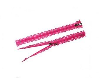5 zipper 20cm Fuchsia color lace