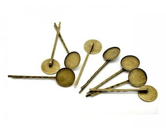 10 hair clips set 18mm Bronze