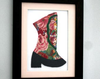 Victorian Dress Shoe Picture--Christmas--Multi-Media Creation--Framed--Home Decor--Wall Hanging--Shipping Included