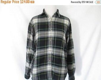 80's Tartan Plaid Blouse Wool Blend Plaid Shirt Wool Blend Flannel Vintage Tartan Plaid Blouse