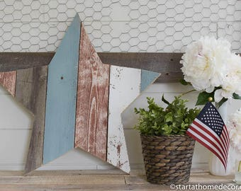 On Sale!!  Red, White and Blue Reclaimed Wood Star