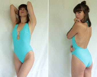 1990's Turquoise Swimsuit with Silver O ring - 90's Blue Backless Swimsuit - Size M #1178