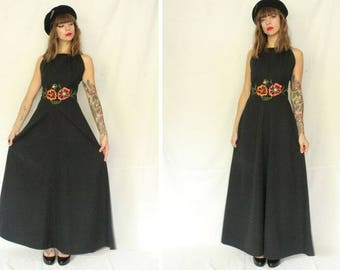 1970's Maxi Black  Evening Gown – 70's Embroidered Dress – Floral Motif –Size S #1417