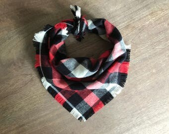 Tie On Dog Bandana, Flannel Dog Bandana, Red Dog Bandana, Frayed Dog Bandana, Boy Dog Accessory, Buffalo Plaid Bandana, Plaid Dog Accessory