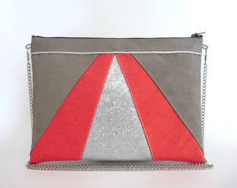 Pouch, shoulder bag corail and grey