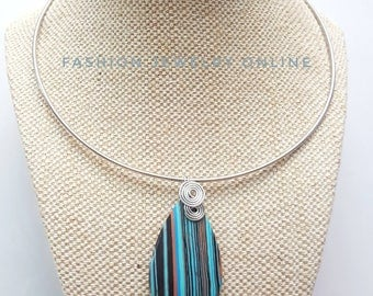 Silver Chokers necklace, Neck cuff Blue stripe turkey turquoise gemstone choker, wirewrapped pendant, Christmas Gift for her under 20