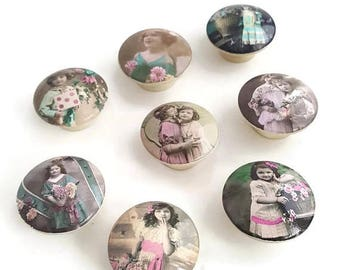 SUMMER SALE FREE Shipping Vintage Photographs Set of 8 Knobs