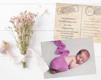 Personalised Birth Announcement Keepsake Cards with Envelopes