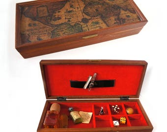 1960s Mens Tie Pin Box Mad Men Style, Old World Map Box,