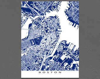 Boston Massachusetts, Boston Map, City Artwork, Blueprint Art, Buildings