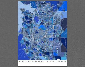 Colorado Springs Map Print, Colorado Springs Colorado, City Map Art