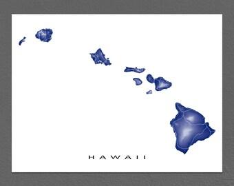 Hawaii Map, Hawaiian Islands Print, Landscape Art, Maui, Oahu, Kauai