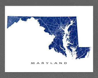 Maryland Map, Maryland State Art Print, USA State Outline Maps
