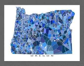 Oregon Map Print, Oregon State Art, OR Wall Artwork