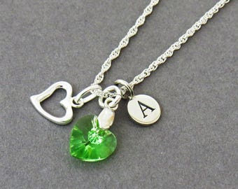 Swarovski Green Heart Crystal initial Necklace,  Peridot Pendant, August Birthstone Necklace, Personalised Birthstone Necklace