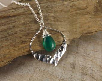 Green Onyx gemstone pendant~gemstone necklace~wire wrapped gemstone pendant~sterling silver pendant~minimalist jewellery~layering pendant
