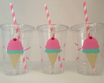 Ice cream party cups, Ice Cream Birthday Party, Ice Cream Party, Summer Party Cups, Ice Cream Birthday Cups