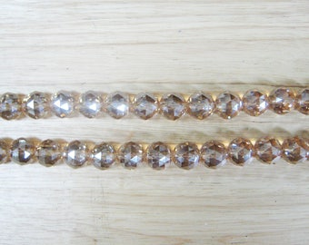 "17mm Champagne Faceted Crystal Ball Beads - 22"" Strand"