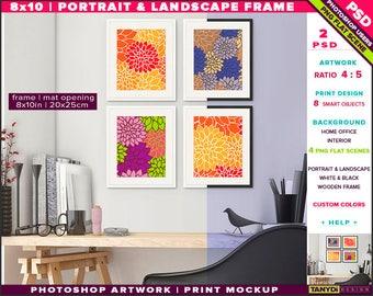 8x10 Fine Wooden Frame on Home office Wall | Photoshop Print Mockup 810-HOR1 | Set of 4 Portrait & Landscape | Smart object | Custom colors
