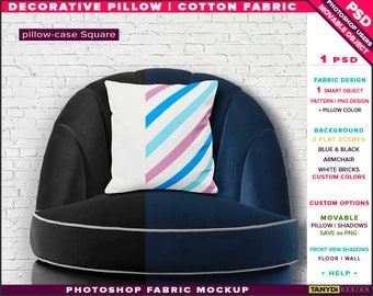 Square Decorative Pillow Cotton Fabric | Photoshop Fabric Mockup M5-S-3 | Cushion on Blue Black Armchair | Smart Object Custom colors
