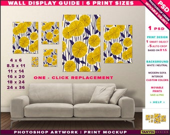 Wall Display Guide | 6 Print Sizes Photoshop Mockup | 24x36 18x24 16x20 11x14 8.5x11 4x6 | Movable Portrait Unframed Print | Sofa interior