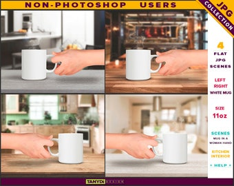 11oz White Coffee Mug | Styled JPG Scenes 11-C4 | White Mug in a Woman Hand | Kitchen Interior | Wooden table top | Non-Photoshop