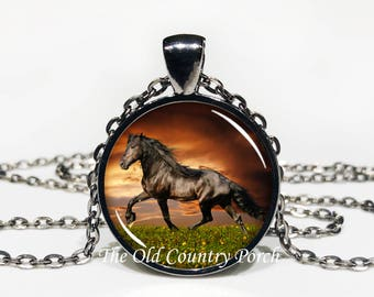 Black Stallion Horse-Glass Pendant Necklace/Graduation gift/mothers day/bridal gift/Easter gift/Gift for her/girlfriend gift/friend gift