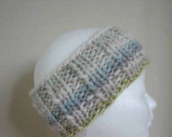 Chunky knit ear warmer white green blue gray head band, hand knitted ear warmer boy girl thick thin effect yarn Lana Grossa girl head band