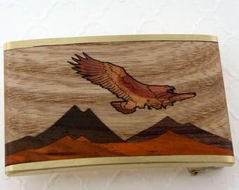 Brass Belt Buckle, Wood Inlaid Moon Belt, Mountain Belt Buckle, Nature Belt Buckle, Inlay Mountain Scene, Eagle, Eagle Belt