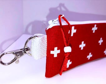 7 x 3 Inches Insulated Narrow First Aid Zipper Pouch, Clamp-on First Aid Bag, Heavy Duty Travel First Aid Pouch