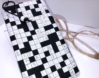 Crossword Puzzle Eyeglass Case, Glasses Case, Sunglass Case, Fabric Eyeglasses Pouch, Zip Top Eyeglass Case,
