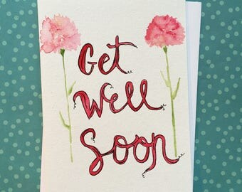 Homemade Get Well Soon Card, Watercolor Get Well Soon Card,