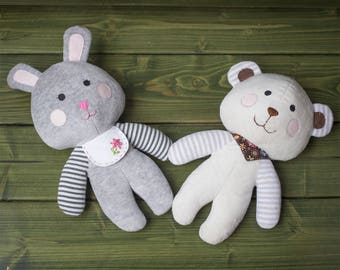 Easy Stuffed Bear and Bunny - PDF sewing pattern & tutorial | Plush Toy pattern | Stuffed Animals | Fabric Toys | Softies