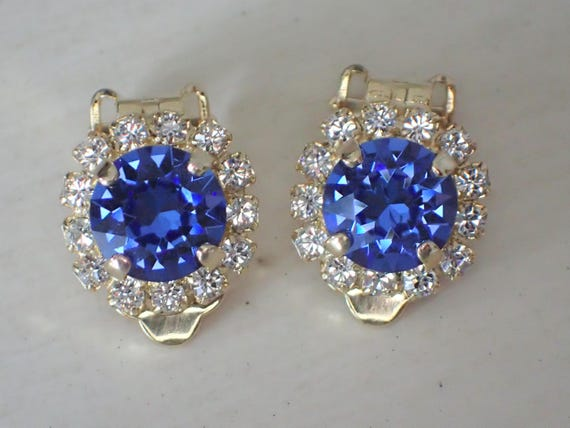 Swarovski Sapphire & Clear Crystal Halo Clip On Earrings, Yellow Gold