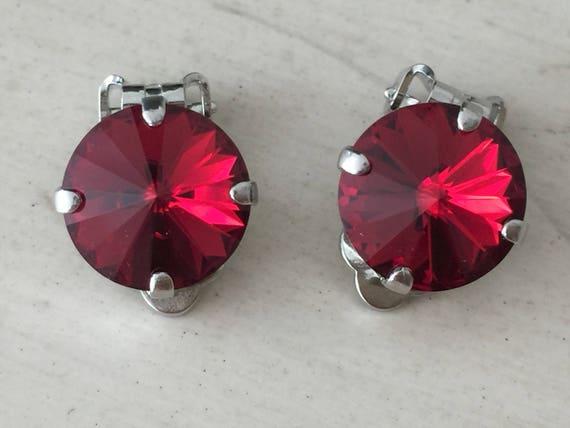 Scarlet Crystal Clip On Earrings, Silver