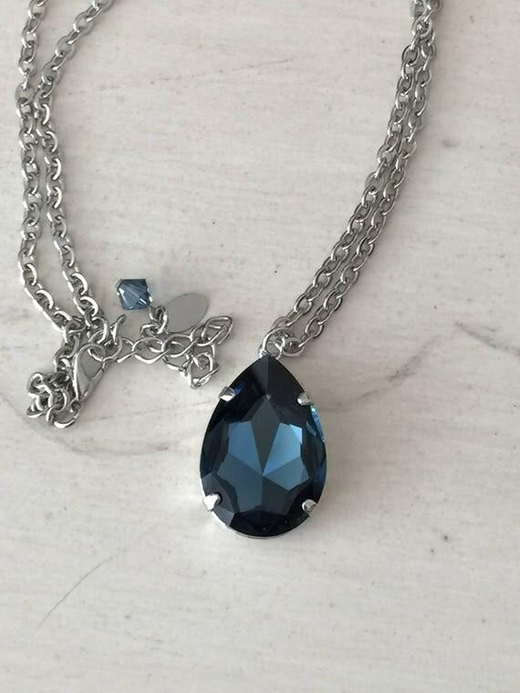 Montana Swarovski Pear Crystal Necklace, Silver