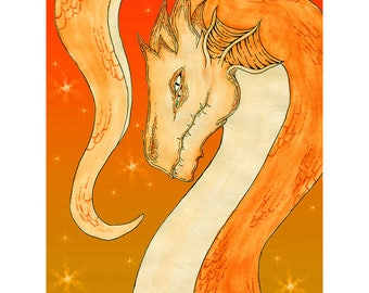 "Dragon Print, ""Aquarto"" 11x14, Orange"