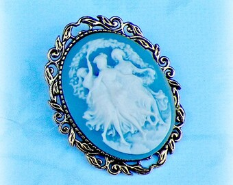 Pin Cameo Brooch Victorian Greek Revival  Vintage Style Steampunk Antique  Gold Style