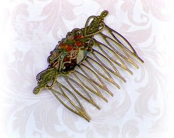 Victorian Hair Comb Fire Opal Green Vintage Style Bridal Rose Gyspy Boho  Steampunk Wedding Gothic Bohemian Reproduction