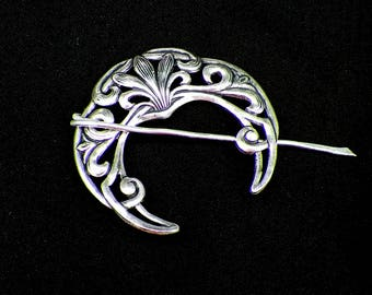 Celtic  Pin Shawl Penannular Silver Cloak Mimimalistic Brooch Vintage Hammered Minimalist  Style Scarf Pin  Stick Pi