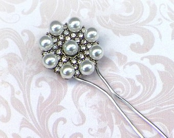 Hair Stick Fork Small Silver Faux Pearl Rhinestone Victorian Vintage Style Bridal Pin Pick Comb Hair Barrette Stick Pin