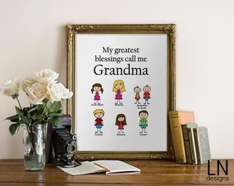 Custom 'My Greatest Blessings call me Grandma' Grandchildren Printable Wall Art Caucasian Stick Figure Home Decor Gift for Her Grandmother