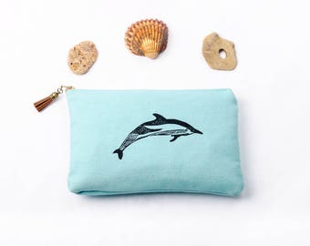 Hand printed cotton canvas clutch: Striped dolphins