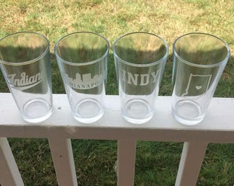 Indianapolis  Glasses  - Indy Pint Glasses - 4 16oz  Etched Water Glasses - Indiana - Indianapolis Colts -Blue Jackets  -OHIO - Buckeyes